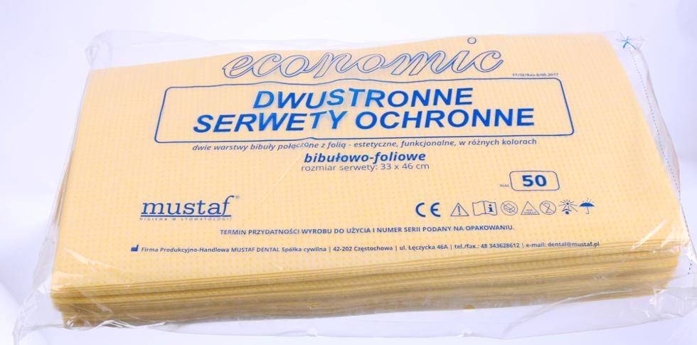 Obrazek Chusty kosmetyczne 33x46 cm 50 szt. Serweta jednorazowa podfoliowana Podkład Serwety podfoliowane żółte