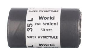 Obrazek Worki na śmieci super wytrzymałe 35L 50szt czarne LDPE