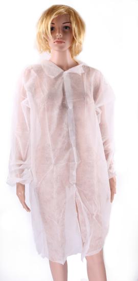 Obrazek Fartuch jednorazowy ochronny z białej włókniny Fartuchy jednorazowe XL 1 sztuka