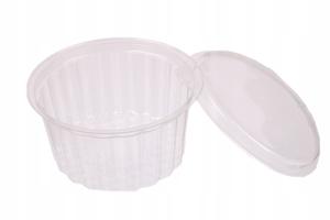Obrazek Jednorazowe opakowanie pojemniki plastikowe pojemnik na wynos 250 ml z wieczkiem komplet 100 sztuk 9199 + P9196