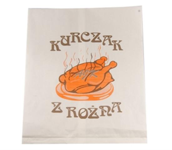 Obrazek Jednorazowe opakowanie na  kurczak z rożna torebka papierowa na pół kurczaka 100sz