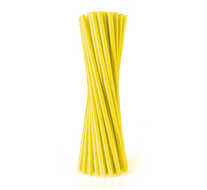 Obrazek Jednorazowa rurka słomka prosta  żółta 500szt 8x240 mm