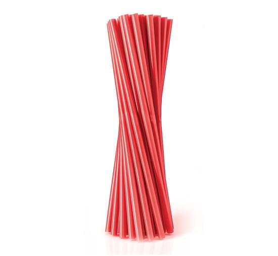 Obrazek Jednorazowa rurka słomka prosta  czerwona 500szt 8x240 mm
