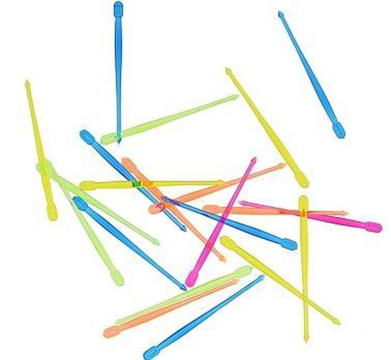Obrazek Wykałaczki jednorazowe plastikowe. Szpilki do koreczków mix kolorów  200 szt. WYPRZEDAŻ