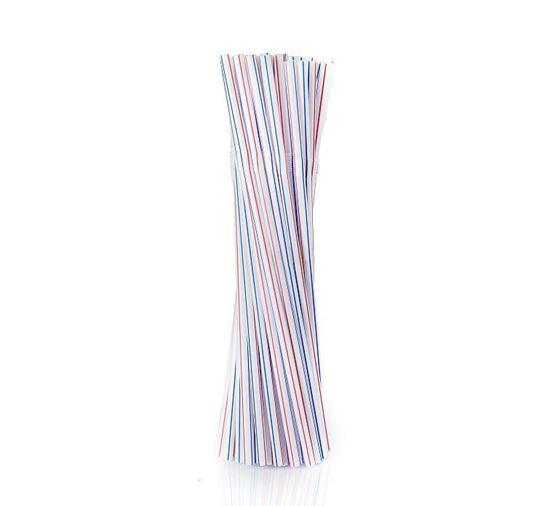 Obrazek Rurki do napojów Słomki proste proste w bibułce kolorowe 300 szt.