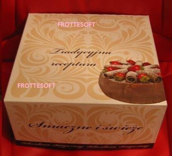 Obrazek WYPRZEDAŻ Opakowanie kartonowe na tort 22x22 cm wysokość 11 cm Opakowanie 20 sztuk WYPRZEDAŻ -15%