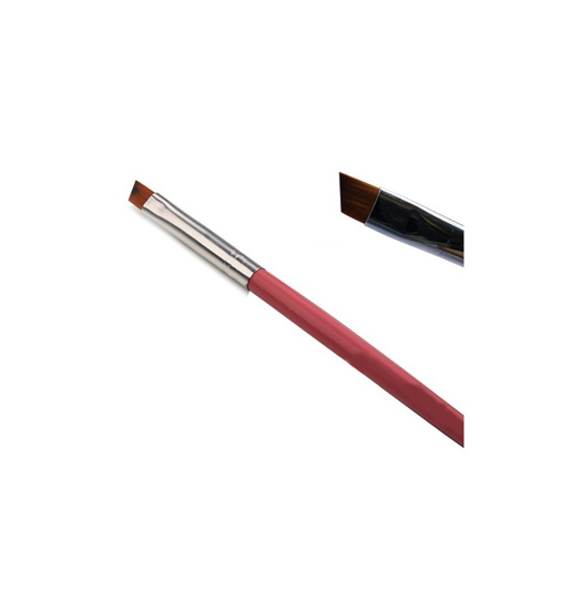 Obrazek Solidny pędzelek do żelu skośny rozmiar 4 Pędzelek skośny nr 4 różowy