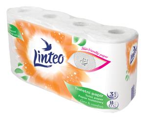 Obrazek Papier toaletowy Linteo 3 warstwowy celulozowy Opakowanie 8 rolek po 15 m