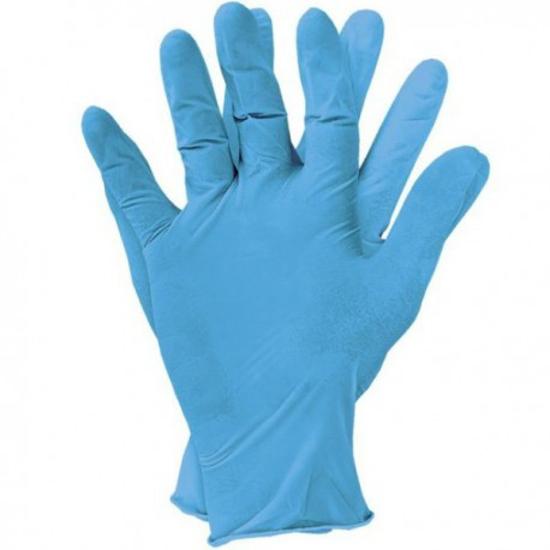 Obrazek Rękawiczki nitrylowe bezpudrowe niebieskie S 100 sztuk  IDEALL