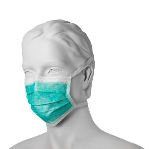 Obrazek Trójwarstwowa maseczka chirurgiczna wiązana na troki klasa IIR Filtracja bakteryjna (BFE) 98%. Maseczki chirurgiczne jednorazowe zielone 1 sztuka