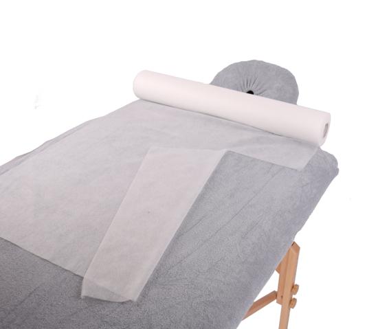 Obrazek Prześcieradło jednorazowe 50/100 m Podkład na stół do masażu Prześcieradło z włókniny szerokość 50 cm 100 m gr 15/m2 z perforacją co 39 cm kolor biały