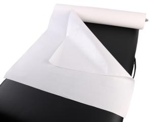 Obrazek Higieniczne podkłady ochronne Serweta Podkład podfoliowany 60 cm 40 m 2 warstwy papieru 1 warstwa folii Prześcieradło jednorazowe podfoliowane 60/40 m kolor biały 1 rolka