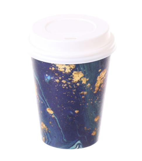 Obrazek Kubki jednorazowe 300 ml. Kubek jednorazowy do kawy herbaty z wieczkiem 0,3L Ocean 100 szt.