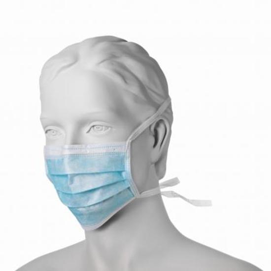 Obrazek Medyczna maseczka higieniczna 3 warstwowa niebieska Maseczki higieniczne jednorazowe niebieskie wiązane na troki 1 sztuka
