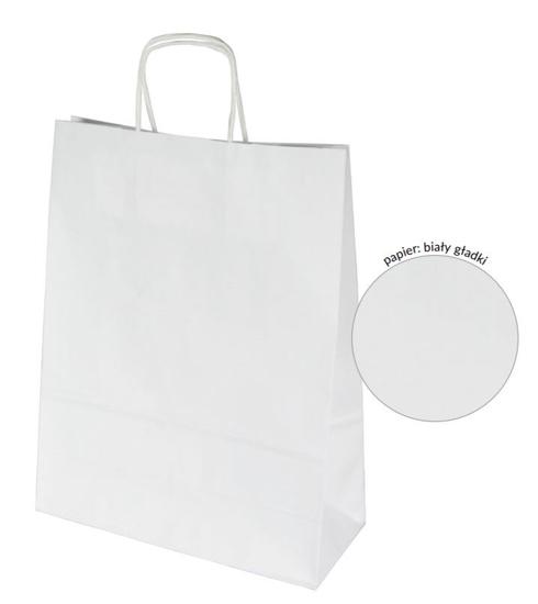 Obrazek Torba papierowa biała 305x170x340 mm Torby papierowe z uchem Opakowanie 20 szt.