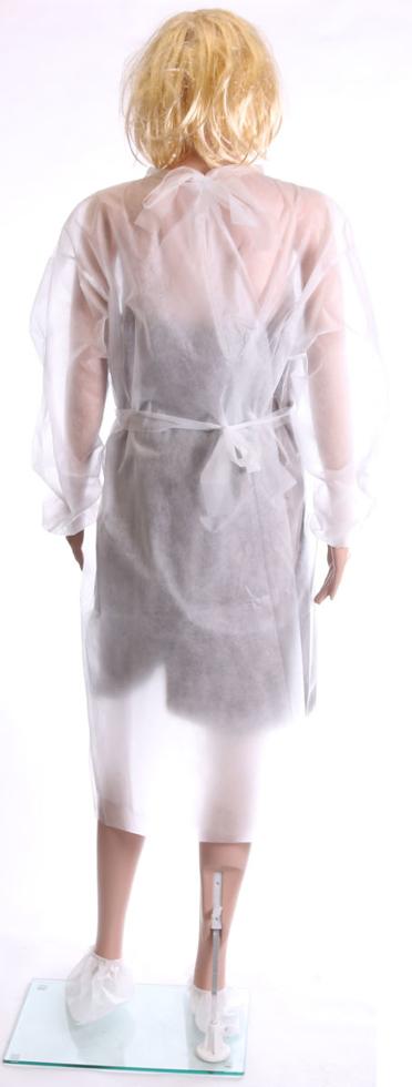 Obrazek Fartuch jednorazowy ochronny medyczny Fartuchy jednorazowe z białej włókniny certyfikat medyczny kolor biały M/L  gramatura 17/m2 1 szt.