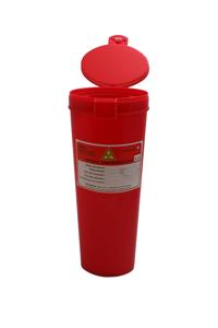 Obrazek Pojemniki na zużyty sprzęt medyczny. Pojemnik na odpady medyczne, kosmetyczne 1,1 L wysoka tuba 27 cm