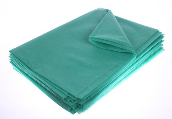 Obrazek Podkłady higieniczne Prześcieradła z włókniny składane zielone Podkład jednorazowy z włókniny 80x210 cm Prześcieradło z włókniny składane gramatura 20/m2 80x210 cm Kolor zielony Opakowanie 10 szt.