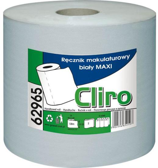 Obrazek Ręczniki papierowe z makulatury Ręcznik papierowy makulaturowy 138 m 1 rolka  CLIRO 62965
