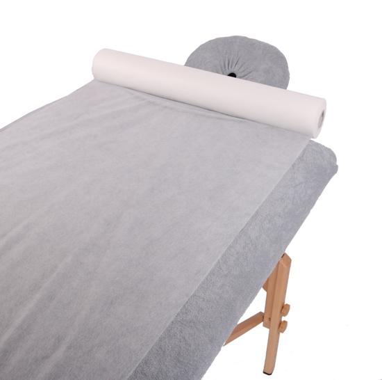 Obrazek Prześcieradło jednorazowe 50/100 m Podkład na stół do masażu Prześcieradło z włókniny szerokość 50 cm 100 m gr 20/m2 bez perforacji z nożykiem Kolor biały