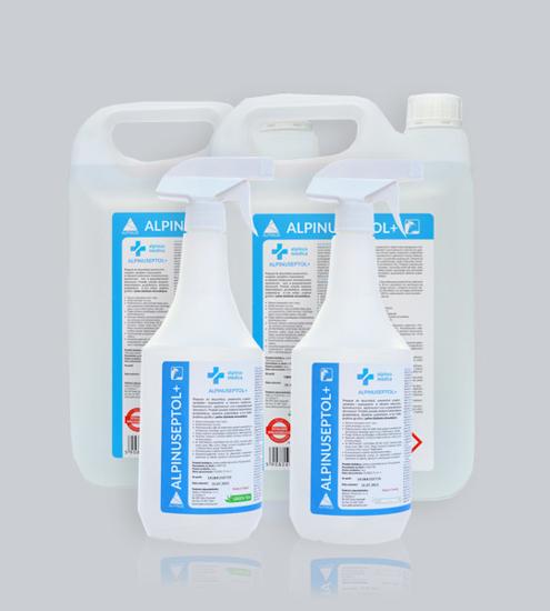 Obrazek ALPINUSEPTOL + Neutral 1L ze spryskiwaczem płyn do mycia i dezynfekcji powierzchni gotowy do użycia 30 sekund działanie bakteriobójcze, grzybobójcze, prątkobójcze, wirusobójcze