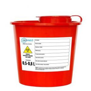 Obrazek Pojemniki na zużyty sprzęt medyczny. Pojemnik na odpady medyczne, kosmetyczne 0,5 L - 0,8 L okrągły